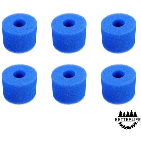 6 Pièces Éponge Filtrante Type S1, Cartouche de Filtre en Mousse, Mousse pour Filtre Piscine, Réutilisables et Lavables, Filtre en Mousse pour Spa, Piscine, Jacuzzi