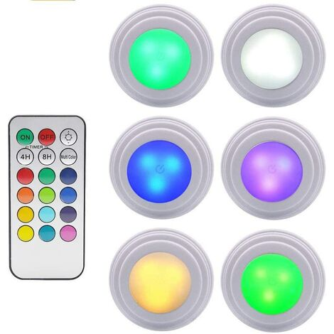 6 pieces of cabinet light light led remote control wireless brightness adjustable LED for washing machine cabinet lighting remote control ambient light ambient light pat colored lighting bedroom bedroom night light dimmable touch light