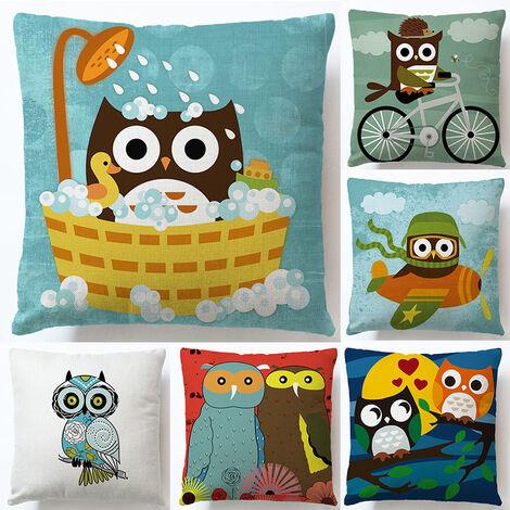 6 Pieces Owl Pattern Pillow Case Soft Pillow Mattress Cover Sofa Chair Zipper Pillowcase Office Home Car Cafe Decoration Gift 45cmx45cm
