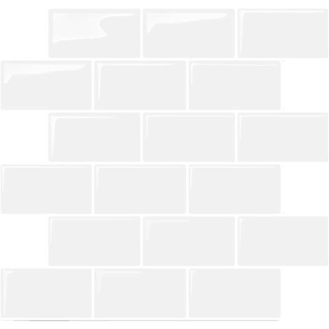 """main image of """"6 Pieces Thick 3D Self Adhesive Wall Tiles Sticker, Peel and Stick Vinyl Wallpaper Anti Mold room Dinning Room Kitchen Hotel Decoration (White Ceramic Tile Style)"""""""