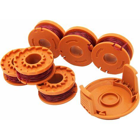 6 pièces WA0004.1 Fil pour tondeuse à gazon pour tous les tondeuses à gazon 20 V WORX et 1 tondeuse Porte-bobine Porte-bobine Edger, compatible avec Worx WG180 WG163 WA0010
