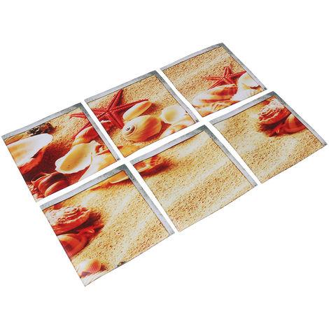 6 piezas 15 x 15 cm 3D Starfish Bath Sticker - Pegatinas de PVC verde para piscinas - sarga antideslizante