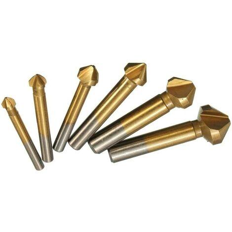 6 piezas 3 Flauta 90 ° avellanadores cónicos revestimiento de titanio – Conjunto de avellanadores Avellanador Countersunk broca Countersunk orificio cónico (Desbarbador Juego 6.3 – 20.5 mm)