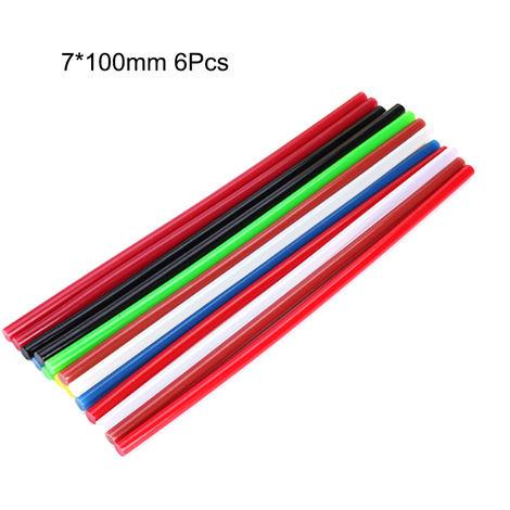 6 piezas, barras de pegamento de fusion en caliente coloridas de bricolaje, 7 * 100 mm