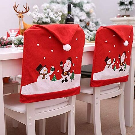 6 piezas de fundas para sillas de Navidad, gorro de Papá Noel, fundas para sillas, gorro de Papá Noel, funda para silla, funda para silla, sombrero rojo, respaldo de silla, Navidad, cena, decoración de fiesta