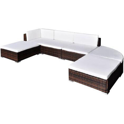 6 piezas Muebles de jardín y cojines ratán sintético marrón