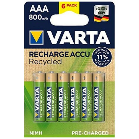 6 piles rechargeables AAA 800mAh Varta Recycled (56813101436)