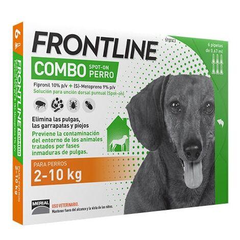 6 Pipetas FRONTLINE COMBO para Perros Pequeños (2-10 kg) Anti Pulgas y Garrapatas Fipronil 0,67 ml