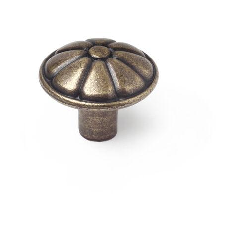 6 pomos clásico fabricado en zamak, con acabado cuero viejo y 25 mm de diámetro.