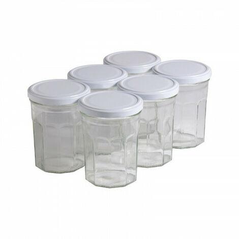 6 pots verre facettes 500g (385 ml) avec couvercle TO 82 - Plusieurs modèles disponibles