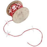6 Reels Chrismas Fabric Sring Ribbon Decoration Decor Craft Supplies 5m Festive Red With White Stars Present Wrap