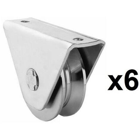 6 Roues gorge V sur roulement pour portail 20mm en applique - Ø80mm