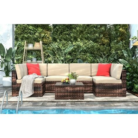 6 Seat Rattan Sofa with Table