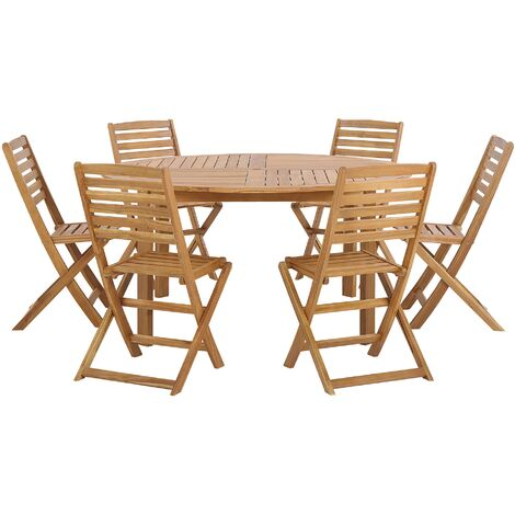 6 Seater Acacia Wood Garden Dining Set TOLVE