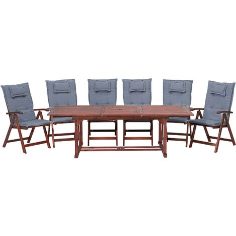 6 Seater Acacia Wood Garden Dining Set with Blue Cushions TOSCANA