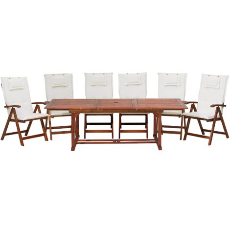 6 Seater Acacia Wood Garden Dining Set with Off-White Cushions TOSCANA
