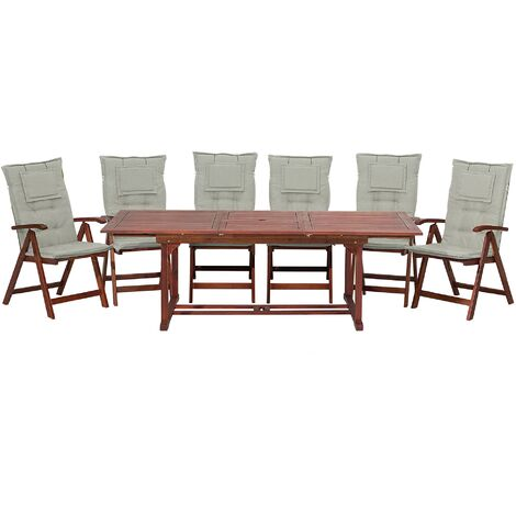 6 Seater Acacia Wood Garden Dining Set with Taupe Cushions TOSCANA