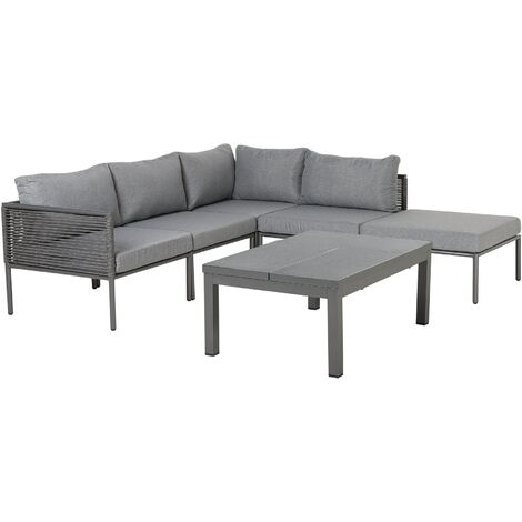 6 Seater Aluminium Garden Corner Sofa Set Grey FORANO