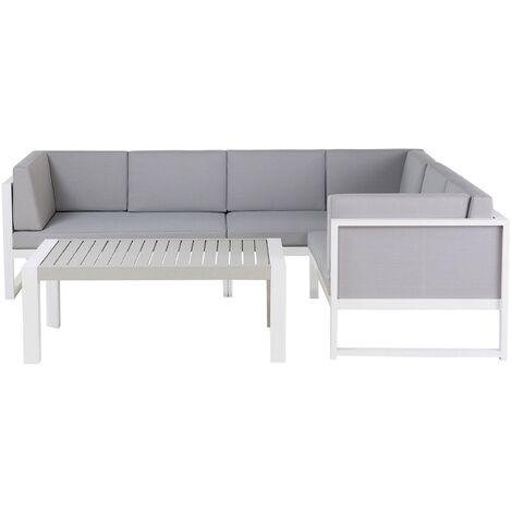 6 Seater Aluminium Garden Corner Sofa Set Grey VINCI