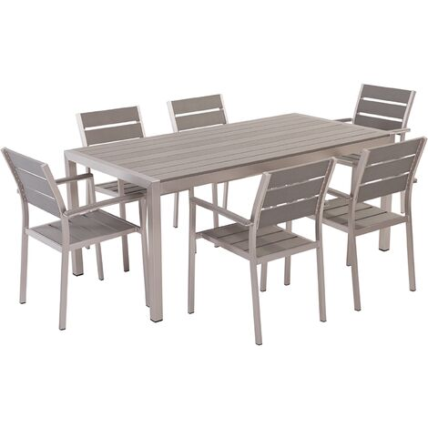 6 Seater Aluminium Garden Dining Set Grey VERNIO