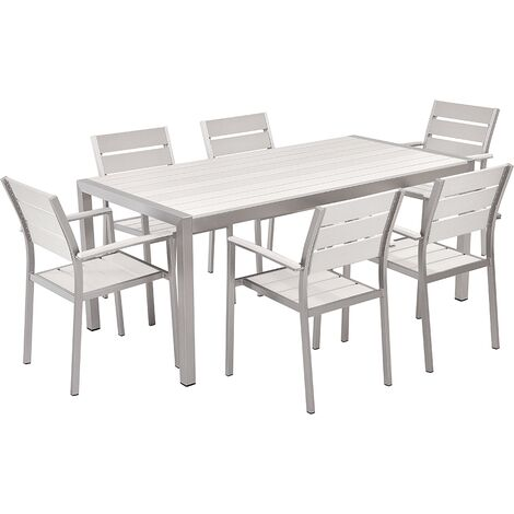 6 Seater Aluminium Garden Dining Set White VERNIO