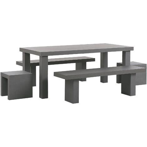 6 Seater Concrete Garden Dining Set Benches and Stools Grey TARANTO