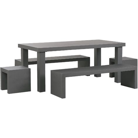 6 Seater Concrete Garden Dining Set U Shaped Benches and Stools Grey TARANTO