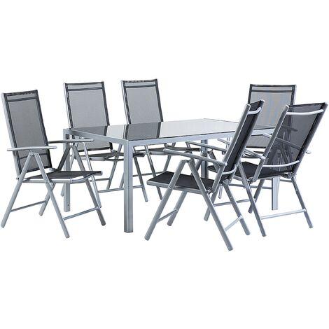 6 Seater Garden Dining Set Black CATANIA