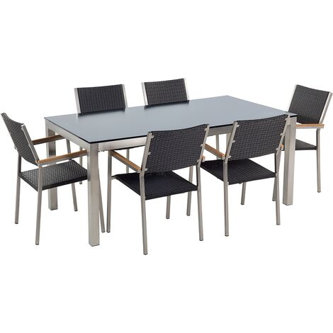 6 Seater Garden Dining Set Black Glass Top with Rattan Chairs GROSSETO