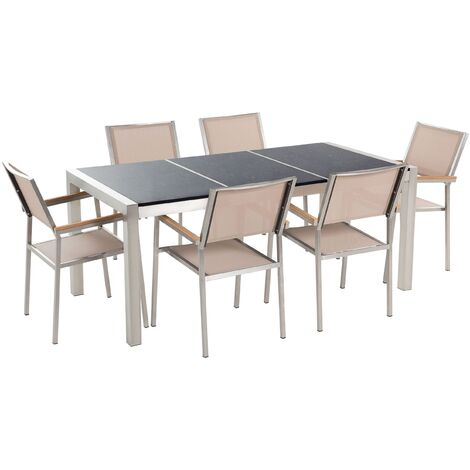 6 Seater Garden Dining Set Black Granite Triple Plate Top with Beige Chairs GROSSETO