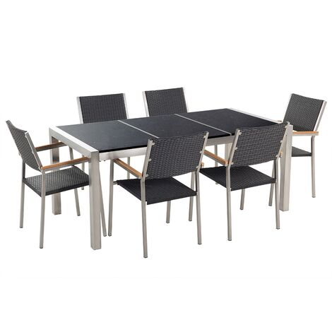 6 Seater Garden Dining Set Black Granite Triple Plate Top with Black Rattan Chairs GROSSETO