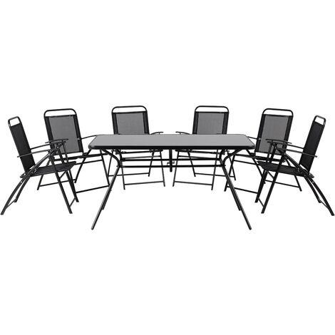 6 Seater Garden Dining Set Black LIVO