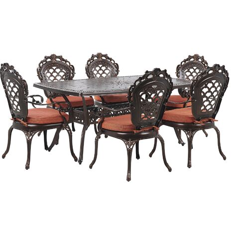 6 Seater Garden Dining Set Brown LIZZANO