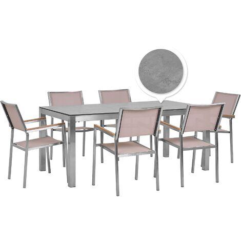 6 Seater Garden Dining Set Concrete Veneer HPL Top with Beige Chairs GROSSETO