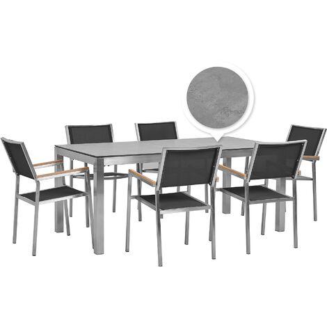 6 Seater Garden Dining Set Concrete Veneer HPL Top with Black Chairs GROSSETO