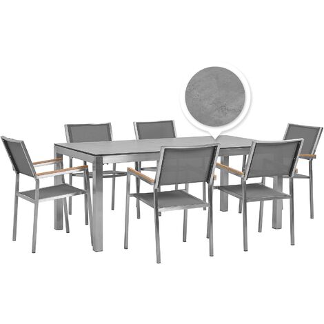 6 Seater Garden Dining Set Concrete Veneer HPL Top with Grey Chairs GROSSETO