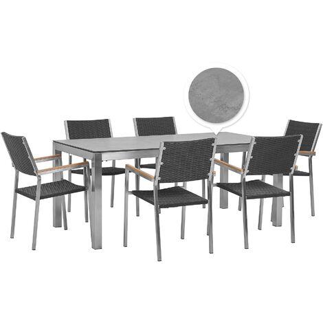 6 Seater Garden Dining Set Concrete Veneer HPL Top with Rattan Black Chairs GROSSETO