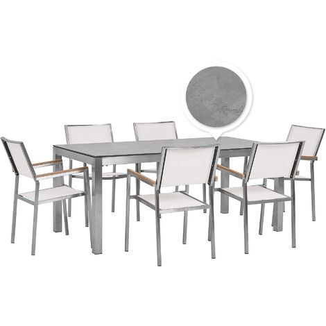 6 Seater Garden Dining Set Concrete Veneer HPL Top with White Chairs GROSSETO