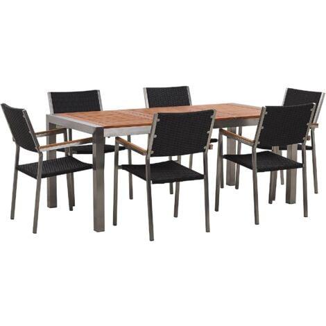 6 Seater Garden Dining Set Eucalyptus Wood Top Black Rattan Chairs Grosseto