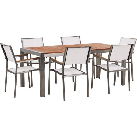 6 Seater Garden Dining Set Eucalyptus Wood Top with White Chairs GROSSETO