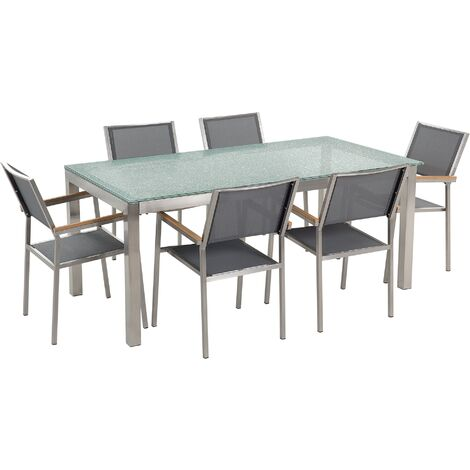 6 Seater Garden Dining Set Glass Table with Grey Chairs GROSSETO