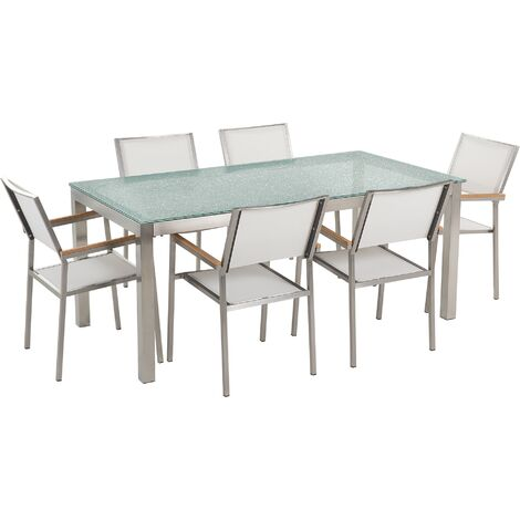 6 Seater Garden Dining Set Glass Table with White Chairs GROSSETO