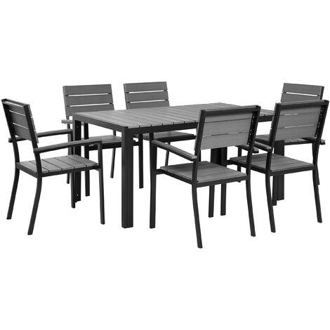 6 Seater Garden Dining Set Grey COMO