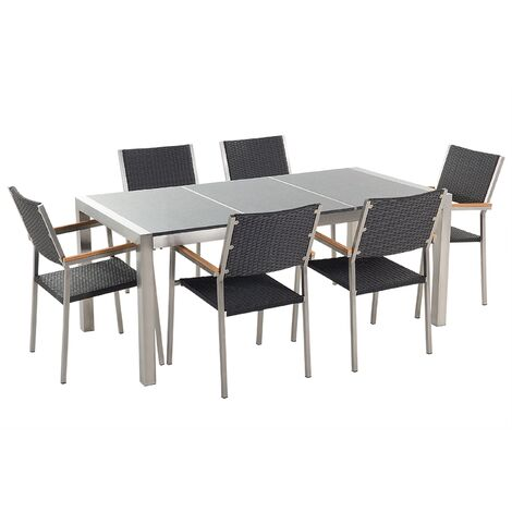 6 Seater Garden Dining Set Grey Granite Top with Black Rattan Chairs GROSSETO