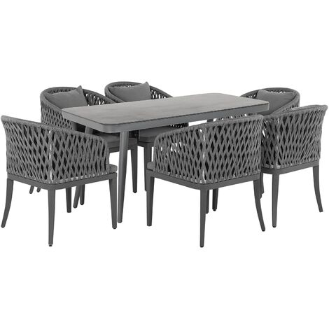 6 Seater Garden Dining Set Grey LIPARI