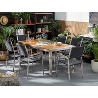 6 Seater Garden Dining Set Mahogany Top Rattan Chairs GROSSETO