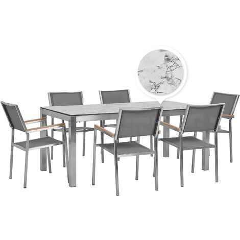 6 Seater Garden Dining Set Marble Veneer HPL Top with Grey Chairs GROSSETO