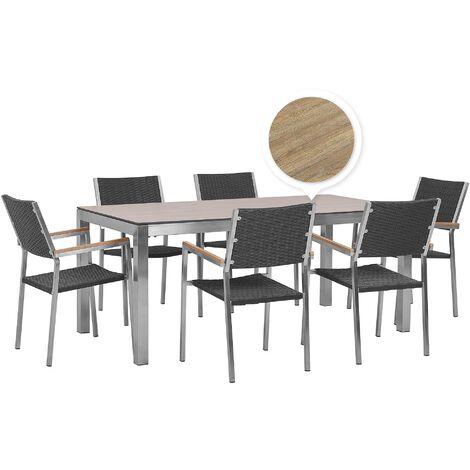 6 Seater Garden Dining Set Oak Veneer HPL Top Black Rattan Chairs Grosseto