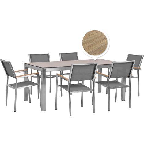 6 Seater Garden Dining Set Oak Veneer HPL Top Grey Chairs Grosseto