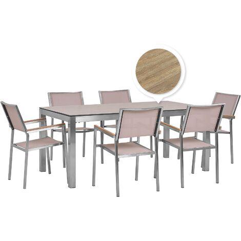 6 Seater Garden Dining Set Oak Veneer HPL Top with Beige Chairs GROSSETO